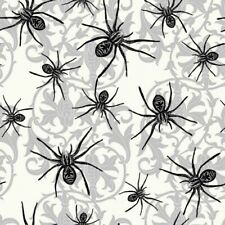 Halloween Sophisticated Spiders Black Spider Damask Cotton Fabric Fat Quarter