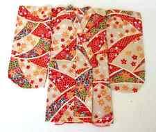 Japanese Handsewn Cotton Doll Kimono -  Red Stars
