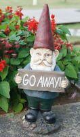 Gnome Holds GO AWAY Sign Figurine - Life Like Figurine Statue Home / Garden