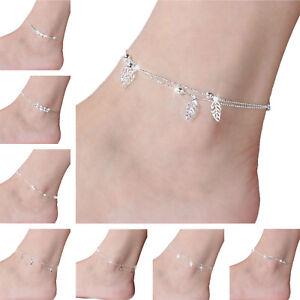 Women Girl Casual Ankle Bracelet Foot Chain 925 Silver Body Jewelry Summer Beach