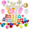 Newborn Happy Birthday Gold Letters Hanging Garlands Bunting Banner
