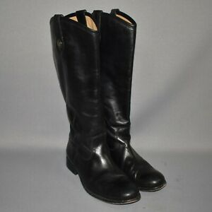 FRYE $368 Black Melissa Button Tall Leather Riding Boots Size 8 B