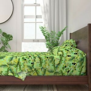 Toucans Tropical Exotic Birds Jungle 100% Cotton Sateen Sheet Set by Roostery