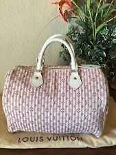 Louis Vuitton Monogram Mini Lin Croisette Speedy 30 Excellent Rose PINK! Rare!