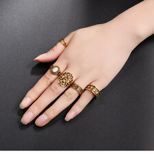 6Pcs/Set Womens Retro Boho Turquoise Moon Arrow Elephant Midi Knuckle Alloy Ring
