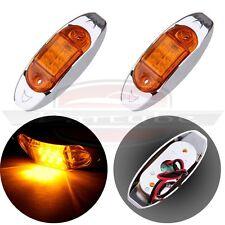 2) 12V Side Marker Led Clearance Lamp Truck Trailer Light 6 Diode Amber Lens