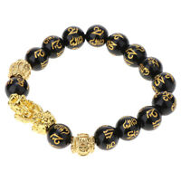 Feng Shui Bangle Hand Carved Beads Bracelet with Pi Xiu Attract Wealth