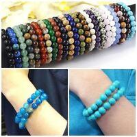 Handmade Stretch Bracelet Natural Gemstone Round Bead 10mm Healing Reiki Bangle
