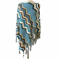 Womens Ladies Knitted Stripe Warm Winter Poncho Shawl Throw Over Cape One Size