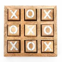 Wooden Tic Tac Tak Toe/ Noughts and Crosses Board IQ Brain Teaser Game