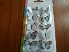 JOB LOT  24 PACKS OF BLACK AND WHITE 3D BUTTERFLY CRAFT STICKERS GLITTER EFFECT