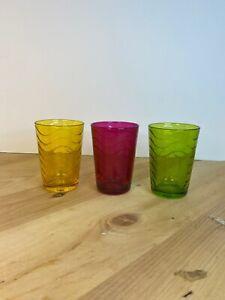 Art Glass Juice Glasses Set Of 3 Wavy Design