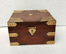 Wooden Box Hand Made Brass Fitted Trinket Jewelry Storage Box Art