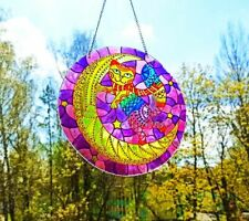 Rainbow Cat On The Moon stained glass window hanging Suncatcher