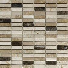 Emperador mix polished marble mosaic - 1.5 x 4.8cm