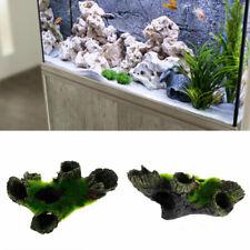 Aquarium Rock Cave Decor with Green Grass for Fish Hiding Fish Tank Ornament GO9
