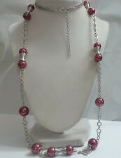"Long Magenta Fuschia Bead Silver Tone Station Necklace 43"" Wearable"