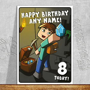 PERSONALISED A5 Birthday Card any NAME and AGE! Steve Dungeon Diamond Gamermash