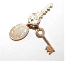 "Vintage Sterling Silver Bracelet Charm Hotel Keys And Tag ""If Found Return"""