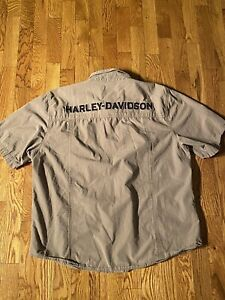 Harley Davidson Button Up Taupe Striped Sz. L