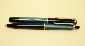 Kolbenfüller PELIKAN 400 & Pelikan Kugelschreiber, beide grün gestreift