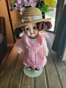 """Jointed Doll GOOGLY EYE BISQUE PORCELAIN 11"""" DOLL with Dress & Hat"""