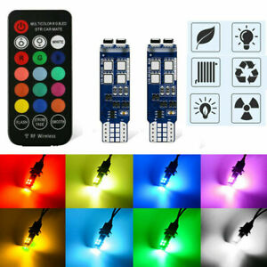 T10 10 Leds RGB LED Bulbs Remote Control License Plate Trunk Light W5W 13 Colors