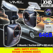 Dash Camera Car Security 64GB XHD 1296 Ambarella A7 Blackbox Crash Truck Backup