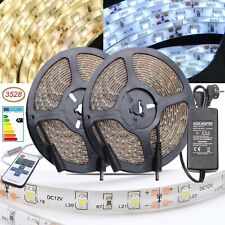 3528 LED Stripe Streifen 5m 10m 20m Leiste Lichterkette Kalt-/Warmweiß Netzteil