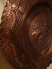 VTG SOLID HEAVY COPPER  PLATE ORNATE GREAT FRUIT FLOWERS UNIQUE NICE