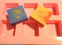 SQUARE 6 Cavity GLOSS Quality Silicone Mould: Soap Candle Muffin CupCake Mold