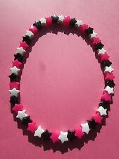 NEON Rosa Nero Bianco in Plastica Star cordone elastico 16 pollici Collana Retrò Emo Goth