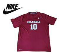 Nike NCAA Oklahoma Sooners #10 Graphic Tee Mens Size M Crimson Red Football