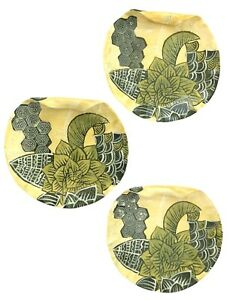 Ambiance Tommy Bahama Tropical Botanical Yellow Green Leaf 3 Curled Salad Plates