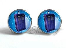 DOCTOR WHO TARDIS PRINT GLASS EARRINGS STUD SILVER COSTUME *NEW* RARE SALE!!!