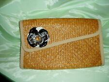 "Vintage ""Forenza"" Leather Flower, Hand Woven, Shellacked Clutch Handbag"