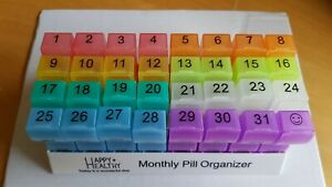 Monthly Pill Tablet Container Box 31 Day Organiser 64 Compartments AM PM