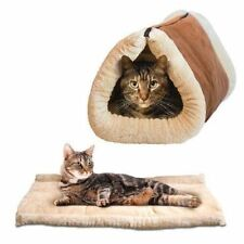 Kitty Cabin 2 in 1 Tunnel Bed & Mat Warm Cosy Thermo Heat Core Washable Zip Nest