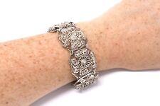 A Superb Wide Antique Art Deco Sterling Silver 925 Filigree Panel Bracelet 22088