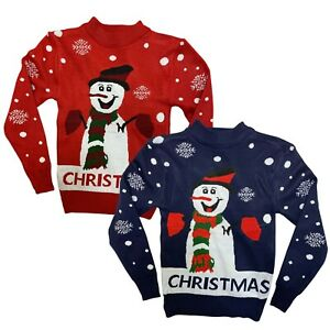 Boys Girls Kids Christmas Jumper Xmas Sweater Unisex Gift Rudolph Red Pull Over