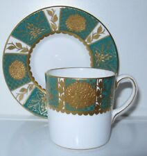 Abbeydale Empress Green Gold Encrusted Flat Demitasse Cup and Saucer