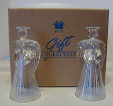 Vintage Avon Glowing Angel Crystal Candlesticks 1992 Set of 2 Brand New in Box