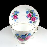 """ROYAL VALE RIDGWAY ENGLAND FLORAL & GOLD 2 5/8"""" CUP AND SAUCER SET 1950's"""