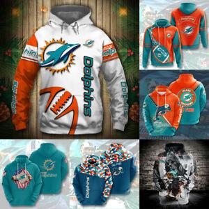 Miami Dolphins Men's Footbball Hoodie Hooded Sweatshirt Active Pullover Jacket