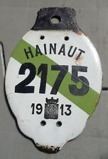 Belgium 1913 enameled Taxi? license plate  #  2175