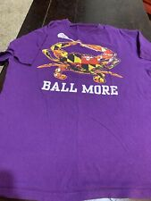 """Baltimore Maryland Flag Crab & Lacrosse Stick  """"Ball More"""" T-Shirt Mens Size L"""