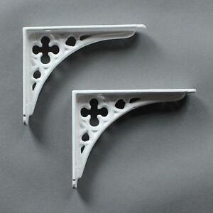 "Pair WHITE 5x4"" SMALL ANTIQUE VINTAGE GOTHIC CAST IRON SHELF BRACKETS (BR03wx2)"