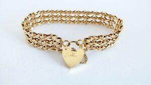 Vintage 1979, 9ct Yellow Gold Patterned Link Gate Padlock Bracelet - 15.9g