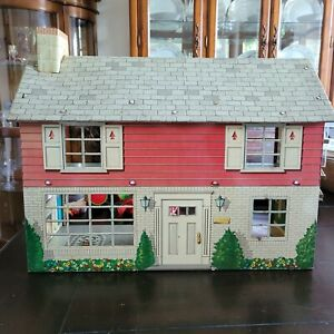 Vintage Tin Dollhouse Lithograph 2 Story Maker Unknown Please Read For Condition