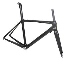 54cm BB30 Carbon Road Bike Frame Fork Race Part 700C 3k glossy ISP Seatpost